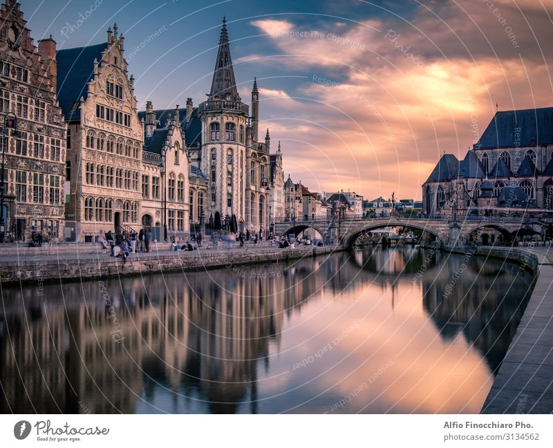 Saint Michael bridge in Ghent at sunset Vacation & Travel Tourism House (Residential Structure) Culture Landscape River Town Bridge Building Architecture Street