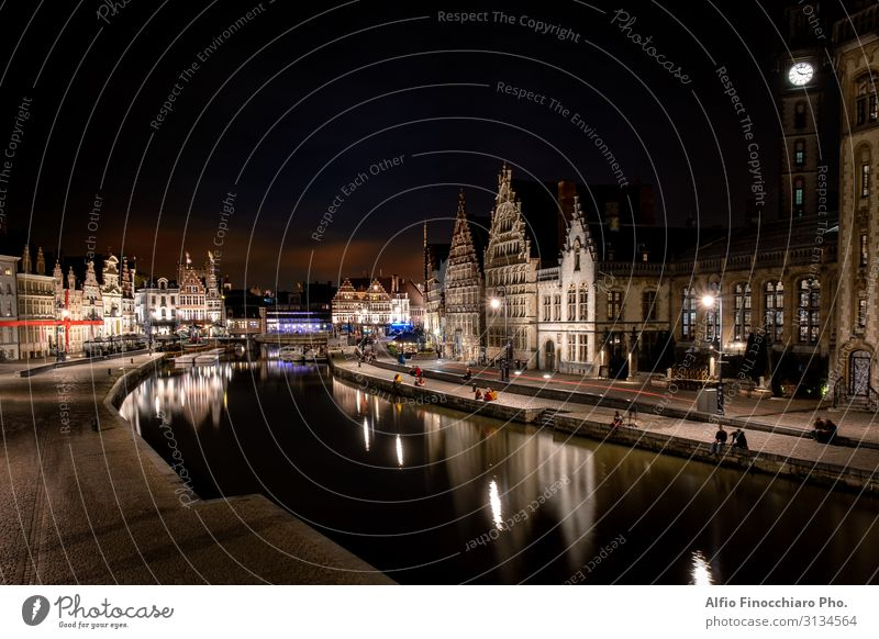 historic city center of Ghent illuminated at night Vacation & Travel Tourism House (Residential Structure) Culture Landscape River Town Bridge Building