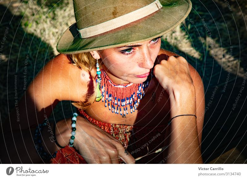 A young Boho girl with a hat Lifestyle Joy Happy Beautiful Relaxation Tourism Summer Beach Woman Adults Friendship Youth (Young adults) Happiness Together