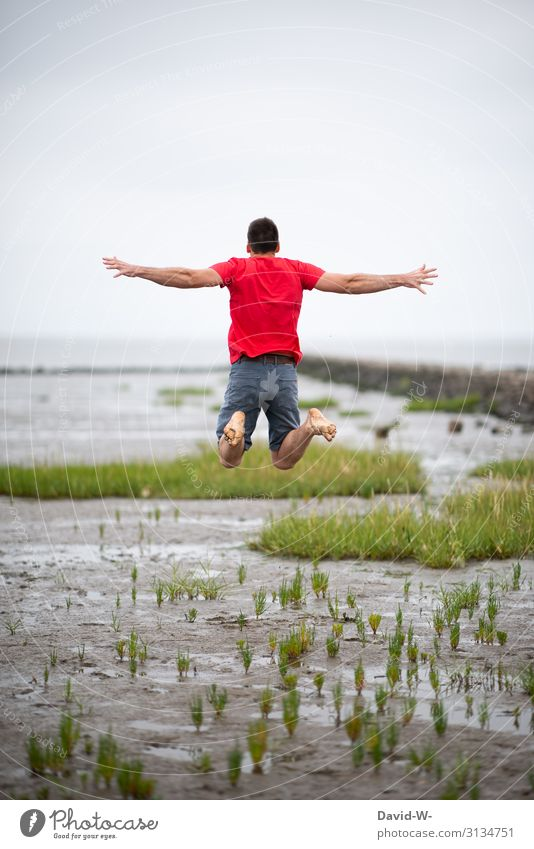 Jump in Watt Human being Masculine Young man Youth (Young adults) Man Adults Life 1 Art Environment Nature Landscape Summer Beautiful weather Bad weather