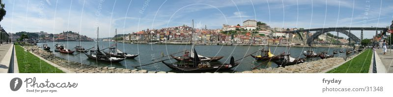 Postage I Panorama (View) Wide angle Portugal Watercraft Europe Porto Harbour Bridge Large Panorama (Format)