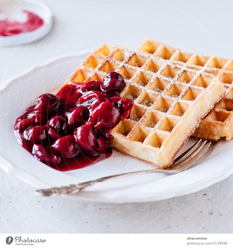 Fresh waffles with hot cherries Food Cake Nutrition To have a coffee Plate Fork Eating Yellow Red White Waffle Fruit Baking Cherry Hot Sweet Belgian waffles