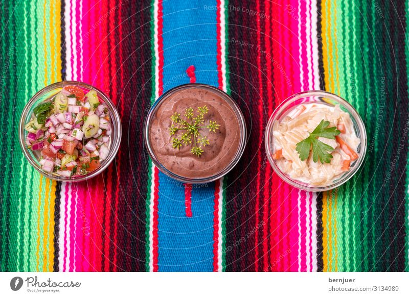 three Mexican Salsas Food Herbs and spices Bowl Table Fresh Delicious Yellow Green Red White organic Ingredients Coriander Kitchen Tomato Sauce Mexico Dip hot