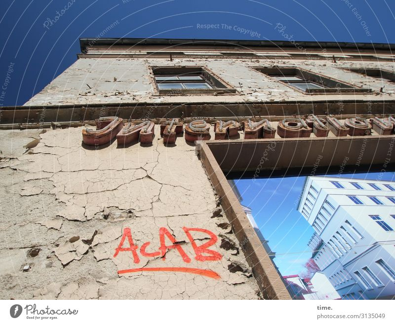 Cervical Spine Training (XVIII) Sky Beautiful weather Ruin Manmade structures Building Architecture New building Advertising Poster acab Wall (barrier)