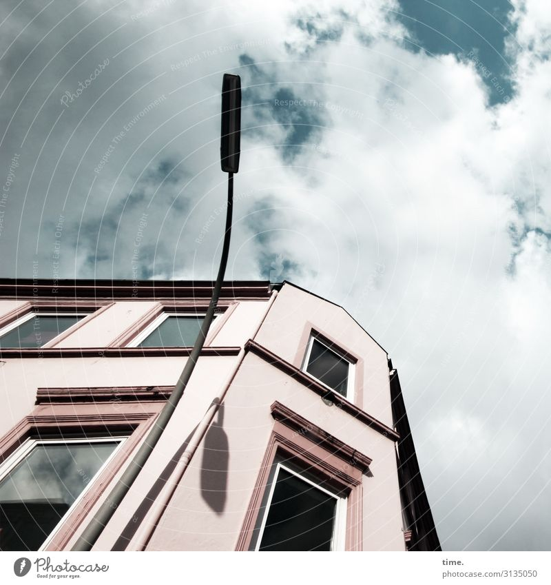 Sky Town House (Residential Structure) Clouds Window Architecture Wall (building) Wall (barrier) Lamp Facade Power Esthetic Perspective Beautiful weather Tall