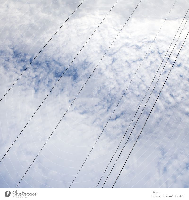 NECKENSTARRE Technology Energy industry Cable High voltage power line String Sky Clouds Wind Tall Above Life Orderliness Relationship Idea Inspiration