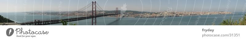 Lisbon Panorama (View) Wide angle Portugal Town Europe Bridge Harbour Large Panorama (Format)
