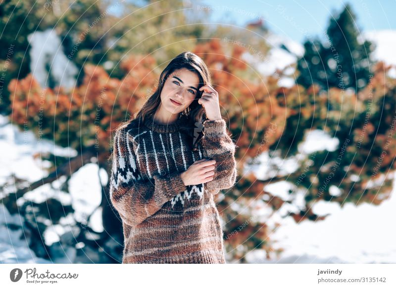 Young woman enjoying the snowy mountains in winter Woman Human being Nature Youth (Young adults) Christmas & Advent Beautiful White Joy Forest Winter Mountain