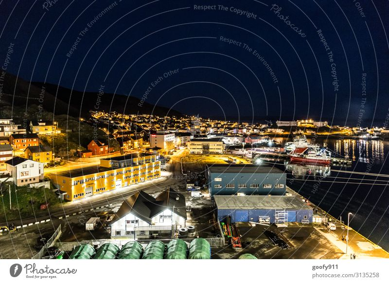 Honningsvag by night (Norway) Vacation & Travel Tourism Trip Adventure Far-off places Freedom City trip Cruise Water Horizon Small Town Port City