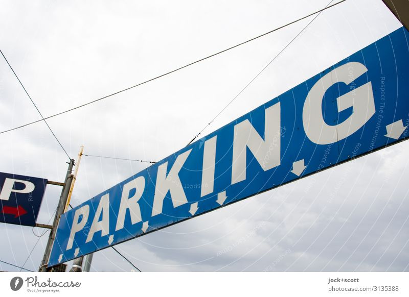 parking guidance system Sky Blue Town Clouds Lanes & trails Style Above Moody Design Characters Arrangement Signs and labeling Authentic Beginning Tall String