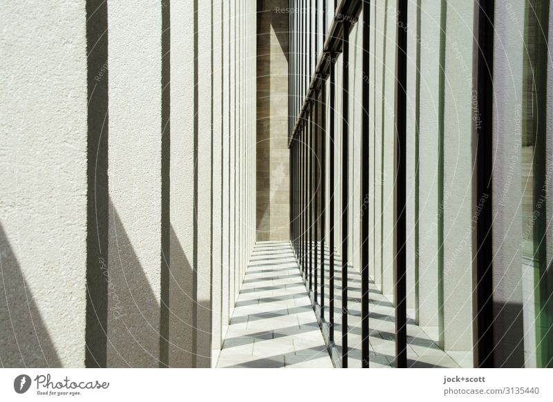 right in the middle Architecture Wall (building) Column Museum island Large Long Modern Many Moody Agreed Arrangement Style Symmetry Spacing Shadow play