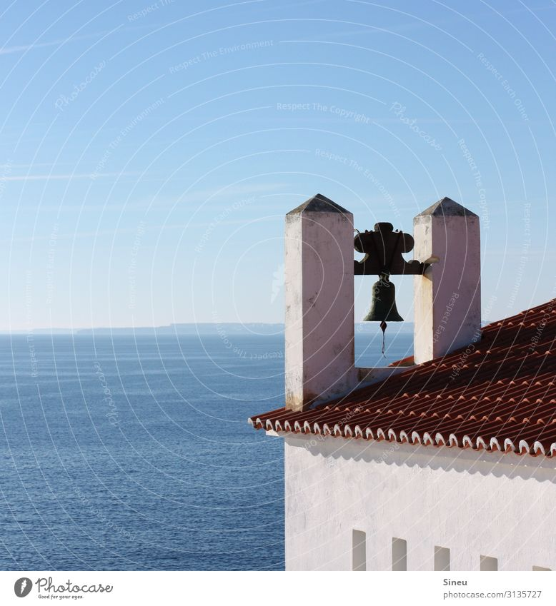 Seaweed. Environment Elements Water Sky Cloudless sky Beautiful weather Ocean Deserted Church Bell tower Stone Old Sharp-edged Maritime Blue White Safety