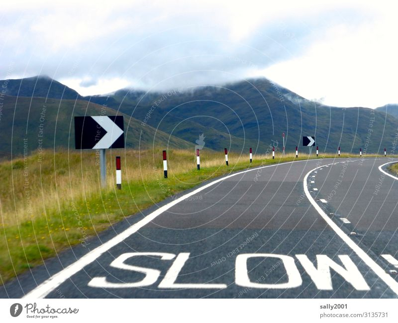 Landscape Mountain Street Lanes & trails Transport Characters Speed Signage Traffic infrastructure Curve Motoring Scotland Road traffic Great Britain Warn