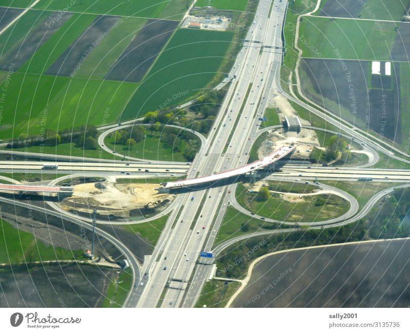 job site Construction site Highway Highway junction cross Transport Build renew Highway ramp (exit) Traffic infrastructure Bird's-eye view Road traffic Germany