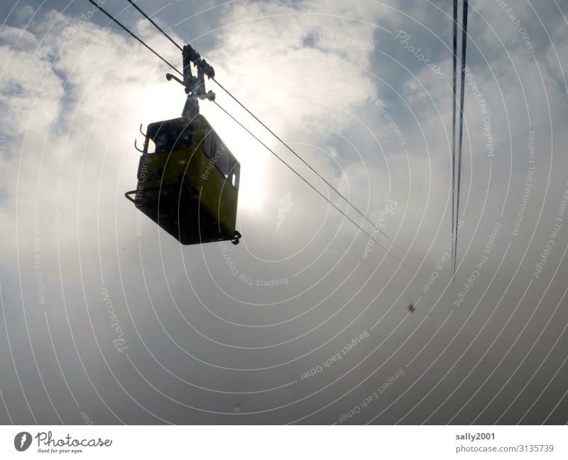 into the unknown... Clouds Weather Fog Cable car Gondola Movement Hang Above Adventure Loneliness Logistics Upward Alps Ambiguous Colour photo Exterior shot Day