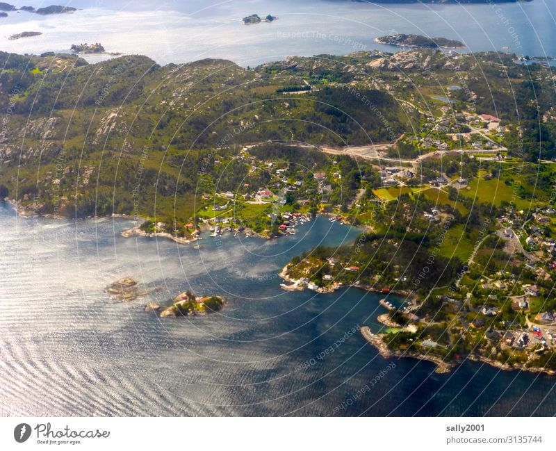 island world Islands Archipelago coast Ocean Landscape Nature Vacation & Travel North Sea Bird's-eye view View from the airplane Beach Waves Wind Norway