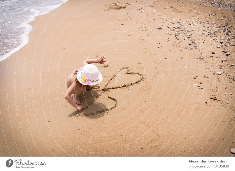 Child Human being Vacation & Travel Summer Sun Ocean Relaxation Calm Girl Beach Life Coast Movement Tourism Freedom Trip