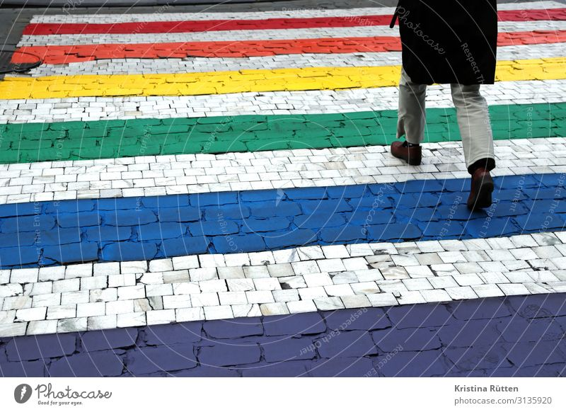 rainbow zebra crossing Lifestyle Freedom Legs 1 Human being Transport Road traffic Pedestrian Street Sign Going Infinity Positive Acceptance Tolerant Peace