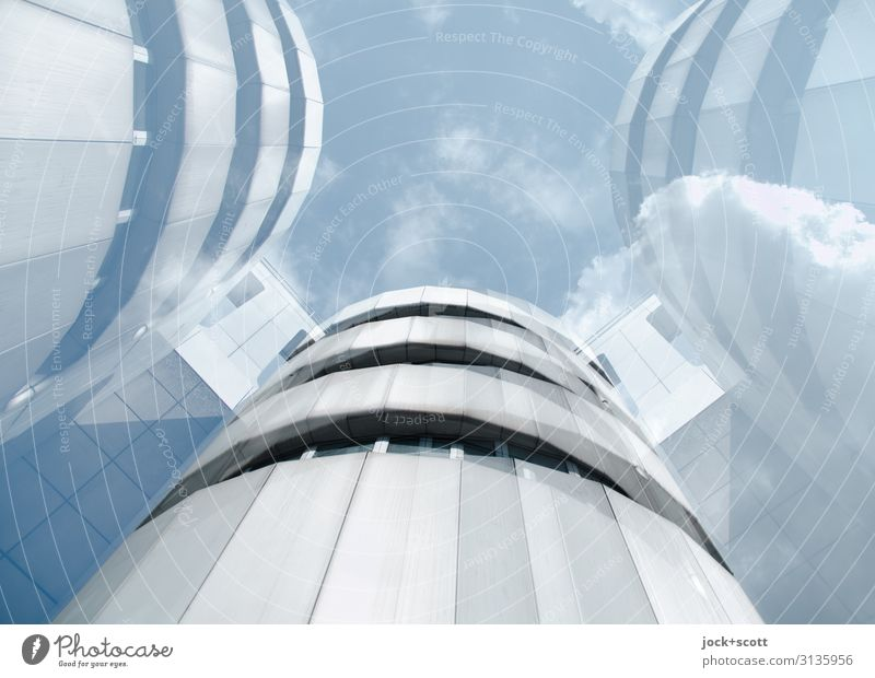 High-tech architecture Design Architecture Sky Clouds Congress building Tall Modern Retro Innovative Style Surrealism Symmetry Double exposure Reaction Illusion