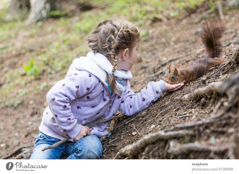 Feeding squirrels #3 Vacation & Travel Trip Child Human being Feminine Toddler Girl Infancy Hand 1 3 - 8 years Nature Animal Tree Forest Wild animal To feed Sit
