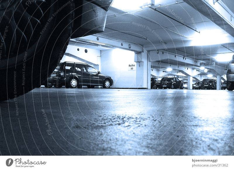 cool underground Underground garage Garage Cold Worm's-eye view Deserted Loneliness Neon light Wide angle Long exposure Architecture on the ground Blue Car Lie