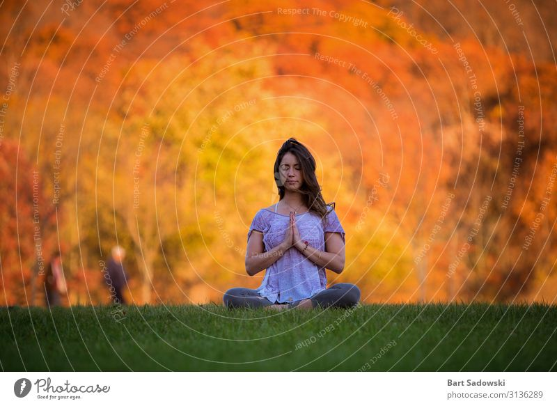Autumn colors Outdoor Meditating woman Joy Health care Alternative medicine Harmonious Well-being Relaxation Calm Meditation Yoga Woman Adults 1 Human being