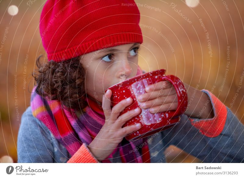 Hot Tea on a chilly Autumn Day Beverage Hot Chocolate Mug Lifestyle Joy Well-being Cure Camping Child Girl Family & Relations 1 Human being 3 - 8 years Infancy