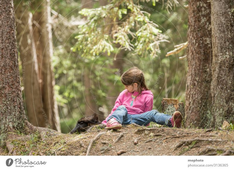 Feeding squirrels #1 Child Human being Toddler Girl Infancy 3 - 8 years Nature Animal Tree Forest Wild animal To feed Sit Wait Friendliness Natural Curiosity