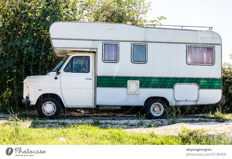 Old white camper bus. Vintage van. Lifestyle Style Relaxation Vacation & Travel Tourism Trip Adventure Summer Engines Transport Street Vehicle Car Mobile home