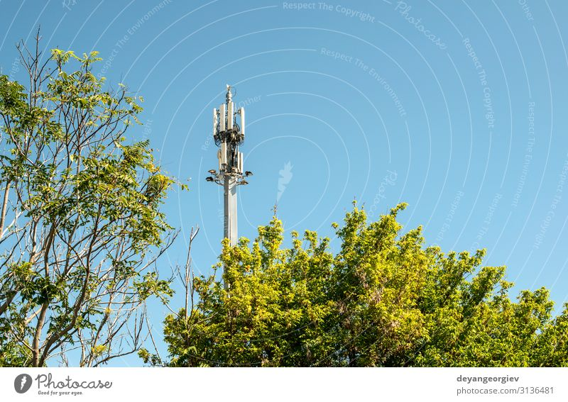 5G antenna outside the city. GSM Antenna in the nature. Industry Telecommunications Telephone Cellphone Technology Internet Sky Aircraft Metal Steel Blue tower