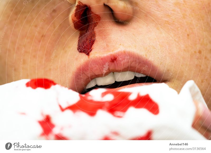 Wound nosebleed, woman bleeding from her nose, Body Skin Face Health care Illness Medication Relaxation Human being Woman Adults Mouth Drop Small Red White Pain