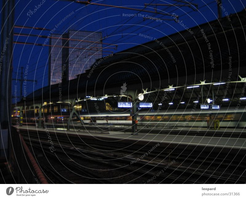 Vacation & Travel Transport Railroad Railroad tracks Mobility Dusk In transit Airport Departure lounge Miss out Lateness Central station