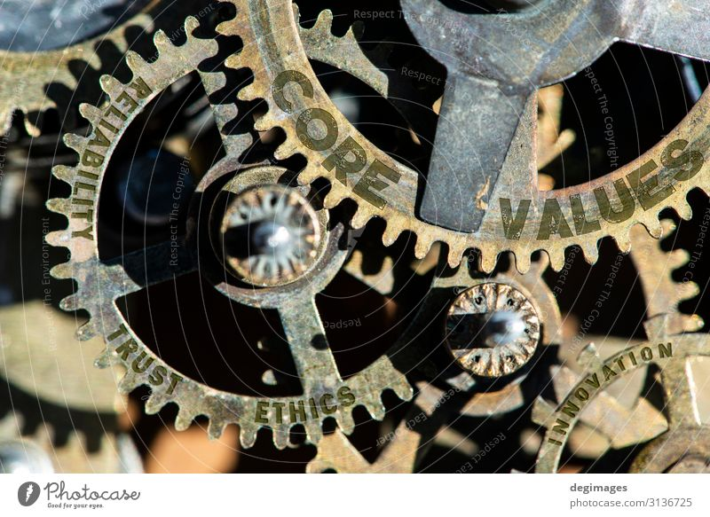 Gears and texts texts core, values, trust, ethics, reliability Growth Success Industry Trust Steel Teamwork Company Machinery Financial Industry Quality