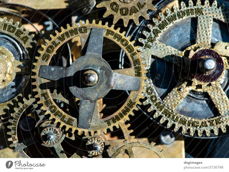 Gears and texts people, problem, solving, teamwork, idea Success Work and employment Industry Business Machinery Technology Group Idea Teamwork gears