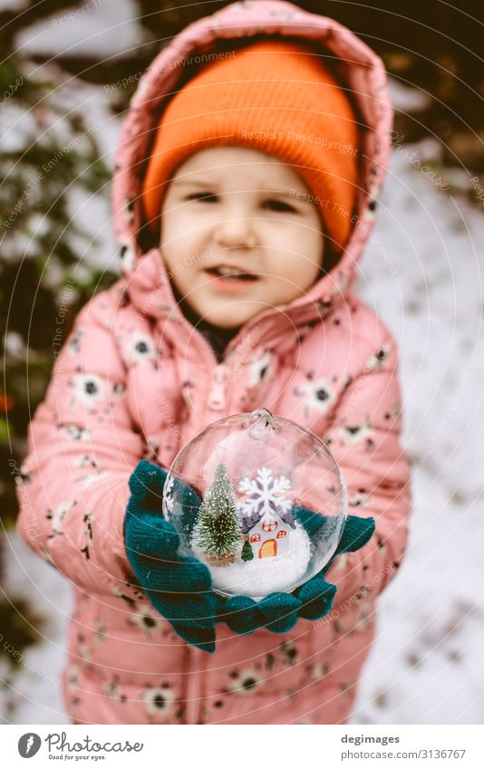 Child hold transparent glass ball with christmas tree Design Winter Snow Decoration Feasts & Celebrations Christmas & Advent Hand Tree Toys Ornament Sphere