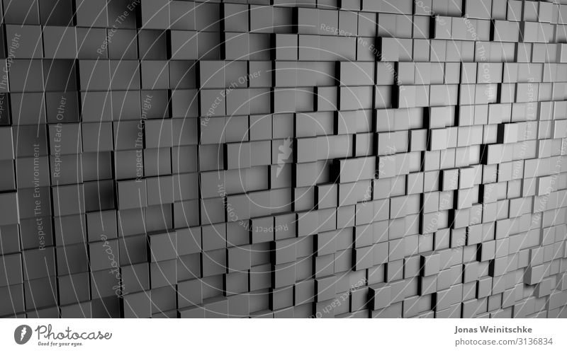 grey 3D cubes Decoration Concrete Steel Plastic Movement Complex Contact Perspective Infinity Three-dimensional Background picture Deception Distorted Light