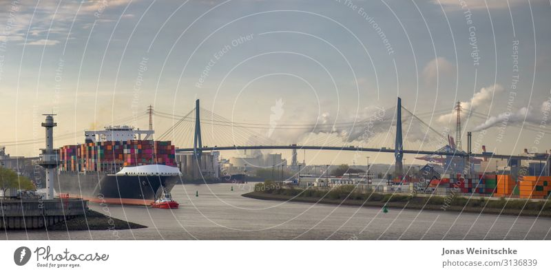 Panorama of a container ship in the morning in the port of Hamburg Water River bank Elbe Town Capital city Port City Populated Tourist Attraction Landmark