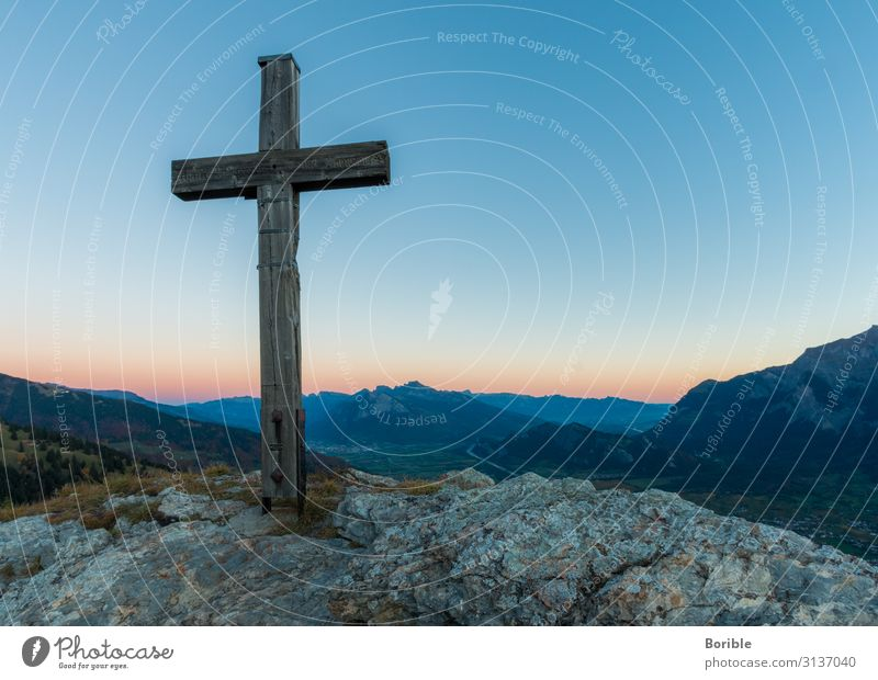 cross Crucifix Peak Peak cross Switzerland sarganserland mountains Sunrise Twilight Valley Plain Rock rocky Belief Hope Death Resurrection Symbols and metaphors