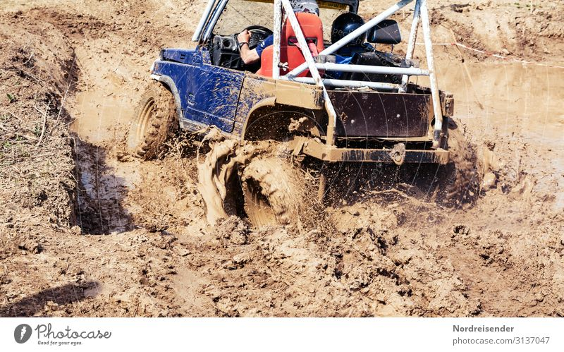 Fun in the mud Lifestyle Joy Trip Sports Motorsports Driving school Human being Masculine Man Adults Elements Earth Water Rain Transport Means of transport