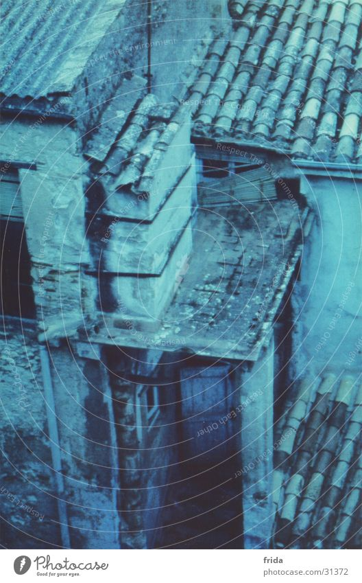 Spanish roofs House (Residential Structure) Bird's-eye view Cross processing Nostalgia Roof Roofing tile Europe Town Door Architecture