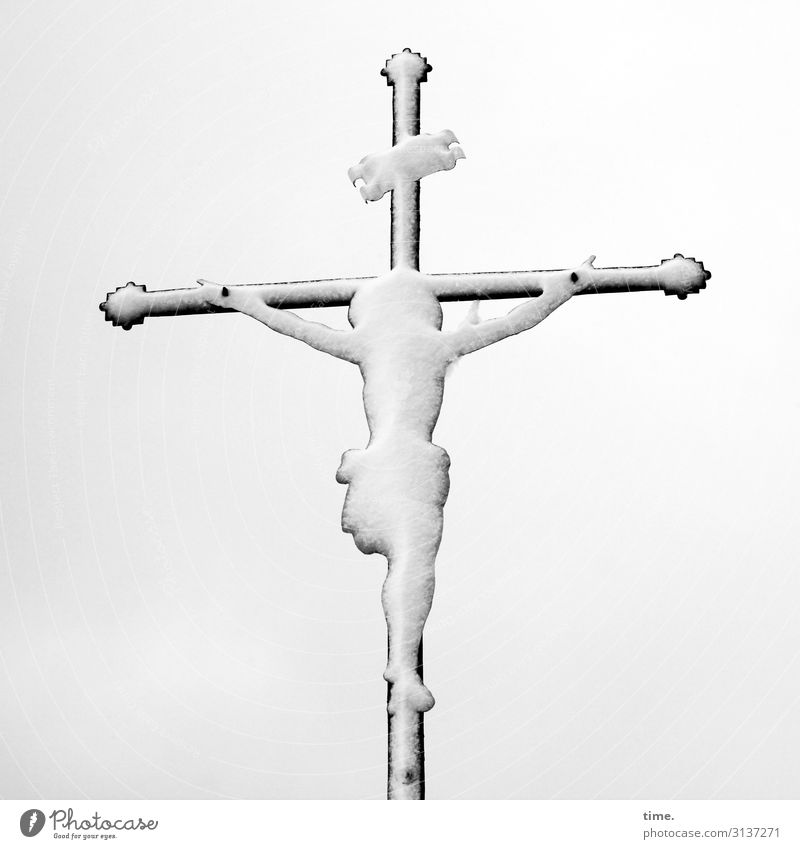 Snowman   Ice Age Masculine Man Adults 1 Human being Exhibition Work of art Sculpture Sky Winter Crucifix Cold Bravery Passion Dedication Altruism Endurance