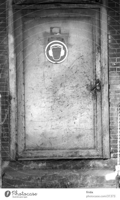 earmuffs Industrial site Pictogram Building Industry Door Black & white photo