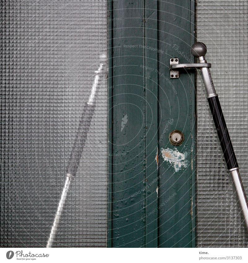 Entrees (VI) House (Residential Structure) Door Front door Entrance Door handle Door lock laminated glass Wood Glass Steel Line Stripe Old Broken Trashy Gray