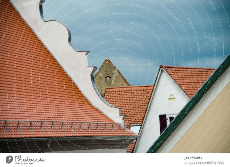 shell game City trip Architecture Clouds Winter Bad weather Nördlingen Old town House (Residential Structure) Building Roof Gable Authentic Historic Above