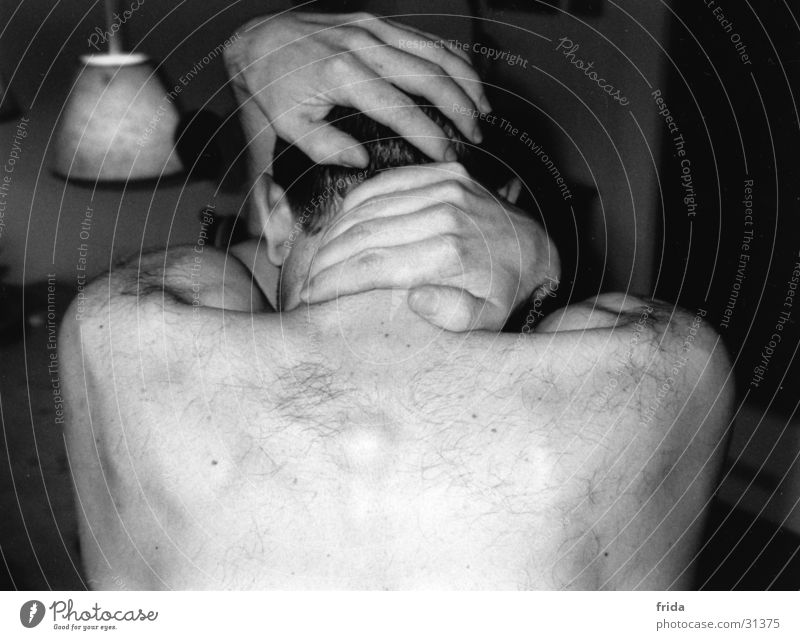 without face Man Grief Hand Loneliness Fingers partial act Back Black & white photo Pain Moody Ear