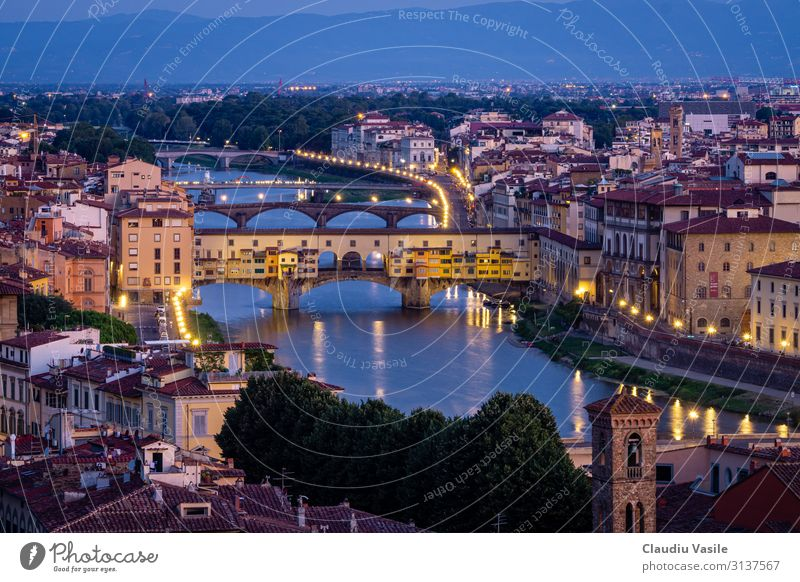 Ponte Vecchio at Dawn Florence Italy Europe Town Downtown Old town Bridge Manmade structures Architecture Vacation & Travel Esthetic Art Tourism Renaissance