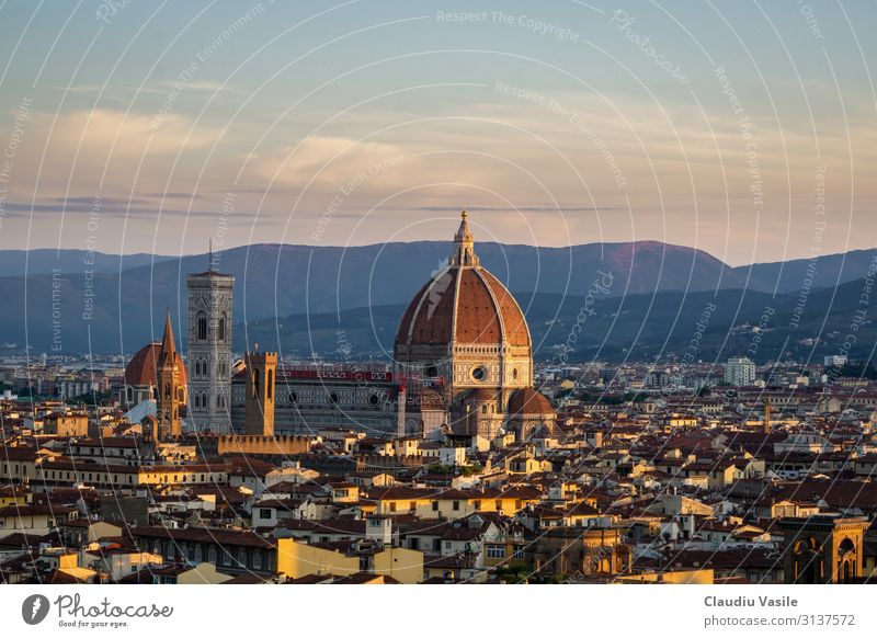 Florence Cathedral at Sunrise Italy Europe Town Downtown Old town Dome Tourist Attraction Landmark Monument Cathedral Santa Maria del Fiore Vacation & Travel