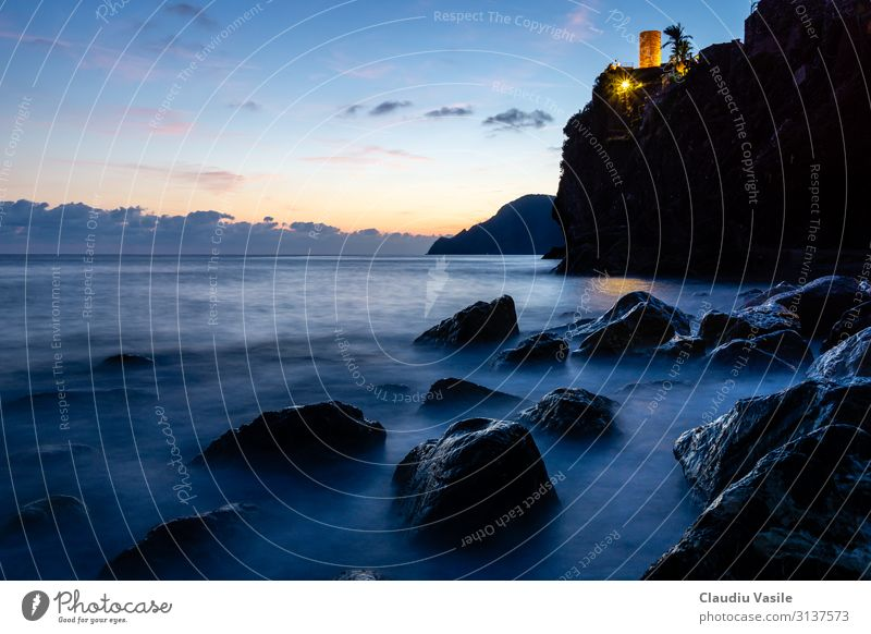 Rocky Coastline at Dusk, Vernazza, Cinque Terre Nature Landscape Sunrise Sunset Summer Mountain Mediterranean Italy Fishing village Moody Peaceful Mysterious