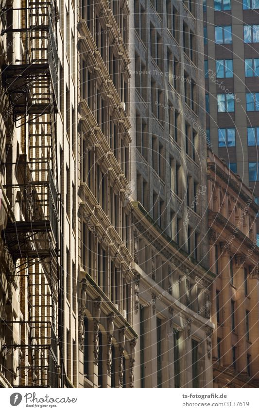 All only facade New York City USA Downtown Old town Deserted House (Residential Structure) High-rise Manmade structures Building Architecture Wall (barrier)