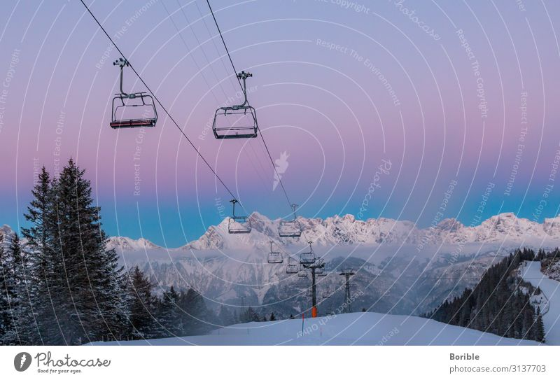 hanging around Environment Nature Landscape Winter Snow Alps Mountain Peak Snowcapped peak Ski lift Cable car Relaxation Hang Vacation & Travel Fresh Happy Pink